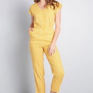 ModCloth Instantly EasyGoing Yellow Jumpsuit Small